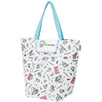 小禮堂 哆啦A夢 折疊尼龍環保購物袋 環保袋 側背袋 手提袋 (白藍 竹蜻蜓)