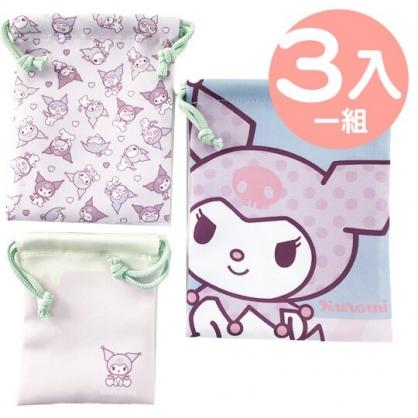小禮堂 酷洛米 棉質束口袋組 旅行收納袋 小物袋 縮口袋 (3入 淡紫 愛心)