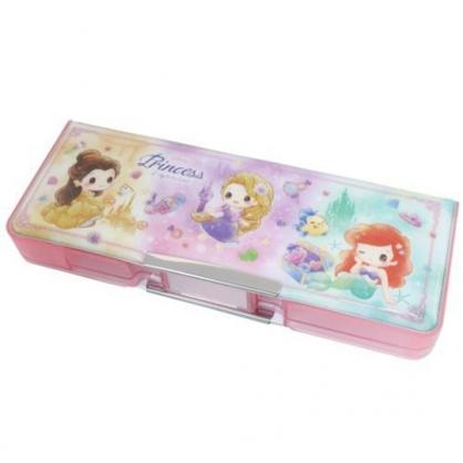 小禮堂 迪士尼 公主 雙開式多功能鉛筆盒 附削筆器  塑膠筆盒 鉛筆袋 (粉 Q版)