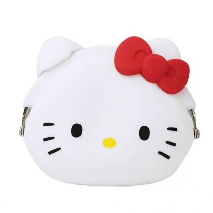小禮堂 Hello Kitty 大臉造型矽膠口金零錢包《紅白》收納包.耳機包.p+g design
