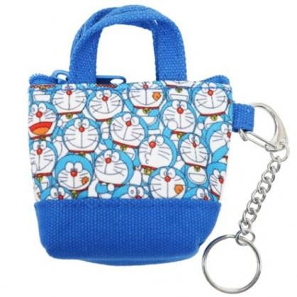 小禮堂 哆啦A夢 提袋造型帆布零錢包 掛飾零錢包 小物包 耳機包 (藍 滿版)