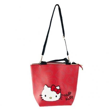 小禮堂 Hello Kitty 船形皮質手提袋 皮質斜背袋 便當袋 手提包 (紅 布章)