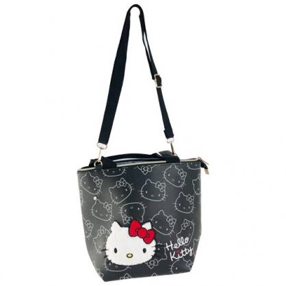 小禮堂 Hello Kitty 船形皮質手提袋 皮質斜背袋 便當袋 手提包 (黑 布章)