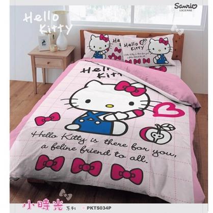 小禮堂 Hello Kitty 單人床包組 床套 床罩 床單 枕頭套 寢具組 3.5x6.2尺 (粉 小時光)