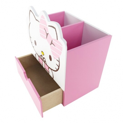 小禮堂 Hello Kitty 造型木質雙格筆筒收納盒 抽屜盒 文具盒 桌上型收納盒 (粉 禮物)