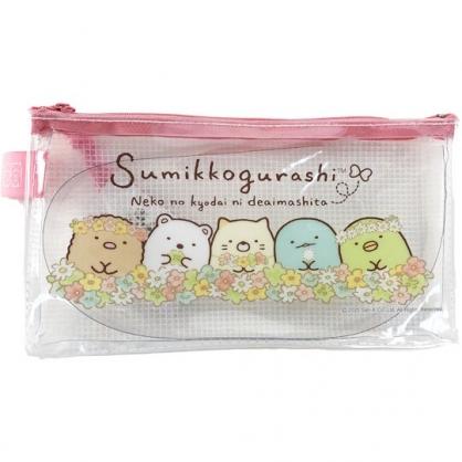 小禮堂 角落生物 防水網狀拉鍊筆袋 透明筆袋 扁平筆袋 鉛筆袋 文具袋 (粉 花圈)