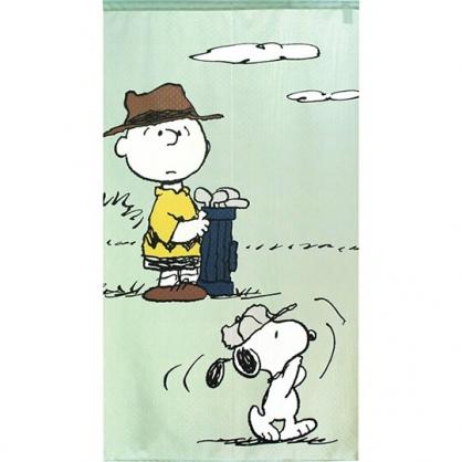 小禮堂 史努比 日製 棉麻長門簾 窗簾 遮光簾 85x150cm (綠 高爾夫)