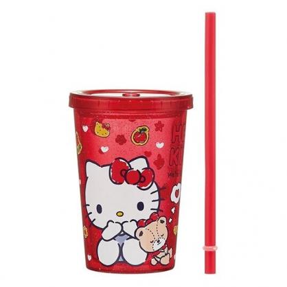小禮堂 Hello Kitty 塑膠吸管杯 透明塑膠杯 飲料杯 隨手杯 300ml (紅 餅乾)