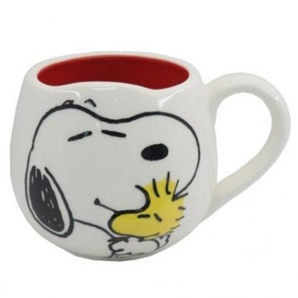 小禮堂 史努比 陶瓷馬克杯 胖胖杯 咖啡杯 陶瓷杯 250ml (白紅 抱抱)