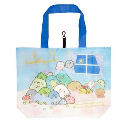 小禮堂 角落生物 折疊尼龍環保購物袋 環保袋 側背袋 手提袋 (藍 窗戶)
