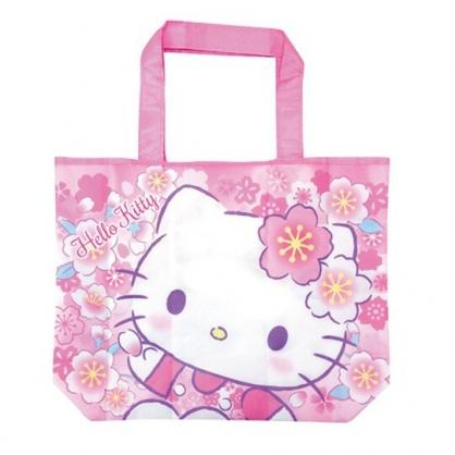 小禮堂 Hello Kitty 折疊尼龍環保購物袋 環保袋 側背袋 手提袋 (白 大臉)