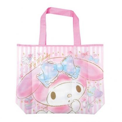 小禮堂 美樂蒂 折疊尼龍環保購物袋 環保袋 側背袋 手提袋 (粉 大臉)