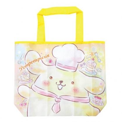 小禮堂 布丁狗 折疊尼龍環保購物袋 環保袋 側背袋 手提袋 (黃 大臉)