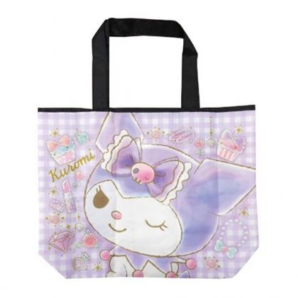小禮堂 酷洛米 折疊尼龍環保購物袋 環保袋 側背袋 手提袋 (紫 大臉)