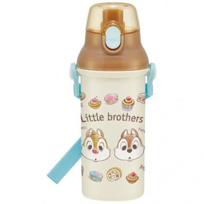 小禮堂 迪士尼 奇奇蒂蒂 日製 直飲式水壺 附背帶 塑膠水瓶 兒童水壺 隨身瓶 480ml (米 甜點)