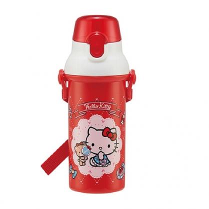 小禮堂 Hello Kitty 日製 直飲式水壺 附背帶 塑膠水瓶 兒童水壺 隨身瓶 480ml (紅 鏡子)