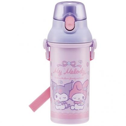 小禮堂 美樂蒂 酷洛米 日製 直飲式水壺 附背帶 塑膠水瓶 兒童水壺 隨身瓶 480ml (紫 花束)