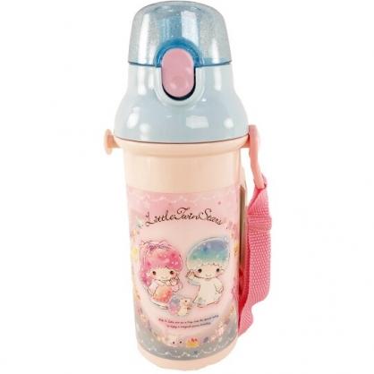 小禮堂 雙子星 日製 直飲式水壺 附背帶 塑膠水瓶 兒童水壺 隨身瓶 480ml (粉 刺蝟)