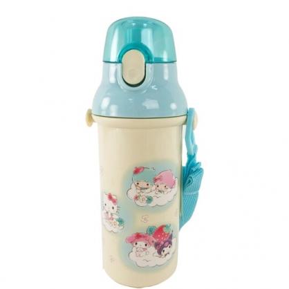 小禮堂 Sanrio大集合 日製 直飲式水壺 附背帶 塑膠水瓶 兒童水壺 隨身瓶 480ml (米 雲朵)