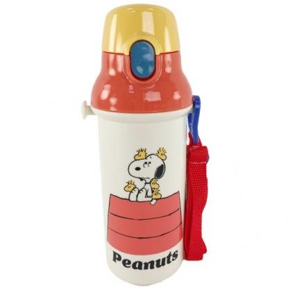 小禮堂 史努比 日製 直飲式水壺 附背帶 塑膠水瓶 兒童水壺 隨身瓶 480ml (米 屋頂)