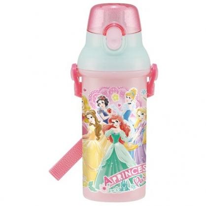 小禮堂 迪士尼 公主 日製 直飲式水壺 附背帶 塑膠水瓶 兒童水壺 隨身瓶 480ml (粉 禮服)