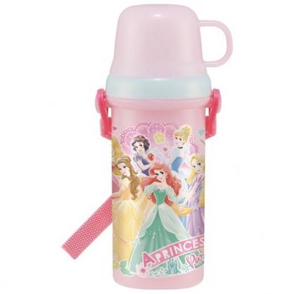 小禮堂 迪士尼 公主 日製 兩用直飲式水壺 附背帶 塑膠水瓶 兒童水壺 隨身瓶 480ml (粉 禮服)