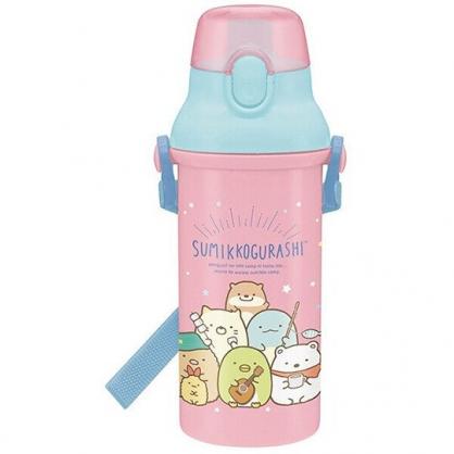 小禮堂 角落生物 日製 直飲式水壺 附背帶 塑膠水瓶 兒童水壺 隨身瓶 480ml (粉 釣魚)