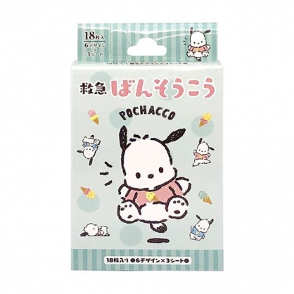 小禮堂 帕恰狗 日製 盒裝OK繃 貼布 繃帶 18枚入 (綠 冰淇淋)