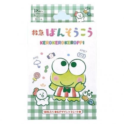 小禮堂 大眼蛙 日製 盒裝OK繃 貼布 繃帶 18枚入 (綠 格紋)