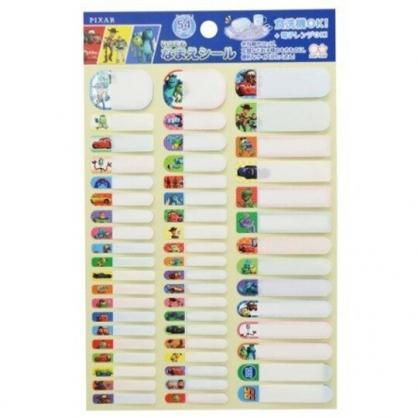 小禮堂 迪士尼 皮克斯 日製 防水姓名貼紙組 防水貼紙 標籤貼紙 (藍 格圖)