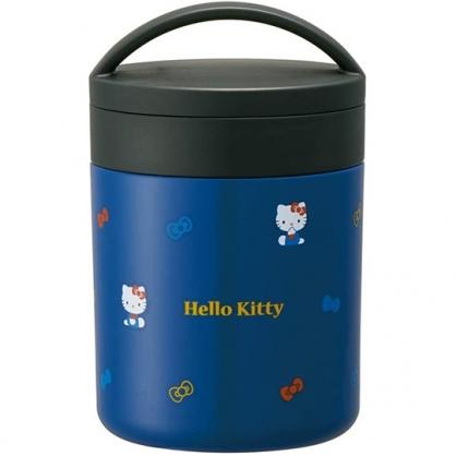 小禮堂 Hello Kitty 圓形不鏽鋼保鮮罐 不鏽鋼便當盒 熱湯罐 超輕量不鏽鋼 300ml (藍 側坐)