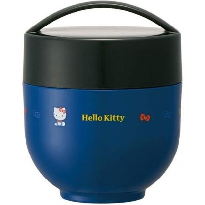 小禮堂 Hello Kitty 圓形不鏽鋼保鮮罐 不鏽鋼便當盒 熱湯罐 超輕量不鏽鋼 540ml (藍 側坐)
