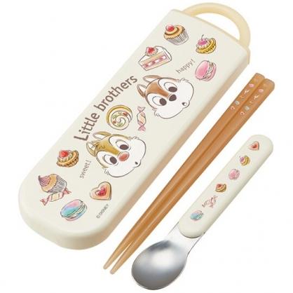 小禮堂 迪士尼 奇奇蒂蒂 日製 滑蓋兩件式餐具組 匙筷 兒童餐具 環保餐具 (米 甜點)