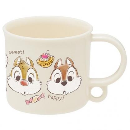 小禮堂 迪士尼 奇奇蒂蒂 日製 單耳塑膠杯 兒童水杯 漱口杯 小水杯 200ml Ag+ (棕 甜點)