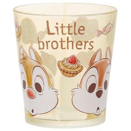 小禮堂 迪士尼 奇奇蒂蒂 無把塑膠杯 透明杯 壓克力杯 兒童水杯 280ml (棕 甜點)