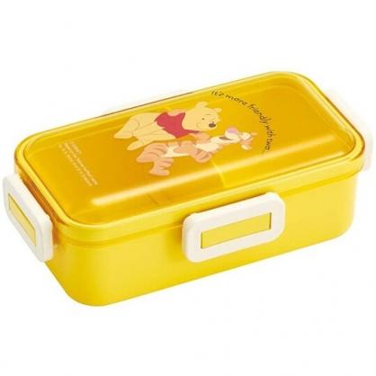 小禮堂 迪士尼 小熊維尼 日製 透明蓋微波便當盒 雙扣便當盒 塑膠便當盒 保鮮盒 530ml Ag+ (黃 朋友)