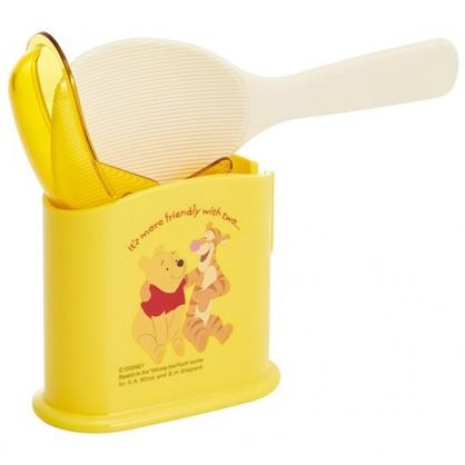 小禮堂 迪士尼 小熊維尼 日製 塑膠飯匙 附盒 飯勺  挖匙 餐具盒 (黃 朋友)