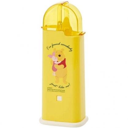小禮堂 迪士尼 小熊維尼 日製 掀蓋塑膠餐具收納盒 筷盒 餐具筒 廚具盒 (黃 抱抱)