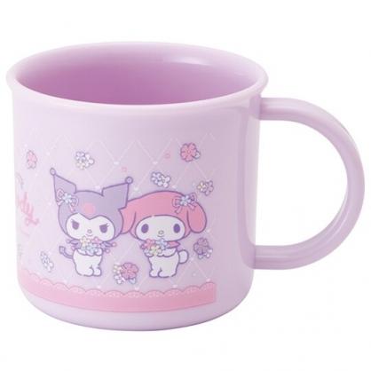 小禮堂 美樂蒂 酷洛米 日製 單耳塑膠杯 兒童水杯 漱口杯 小水杯 200ml Ag+ (紫 花籃)