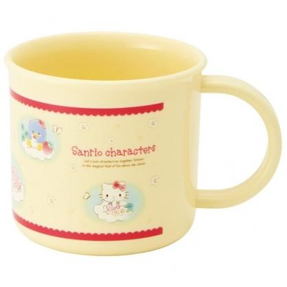 小禮堂 Sanrio大集合 日製 單耳塑膠杯 兒童水杯 漱口杯 小水杯 200ml Ag+ (黃 雲朵)