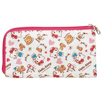 小禮堂 Hello Kitty 尼龍口罩包 口罩夾 口罩套 小物包 口罩收納 (紅白 鬆餅)