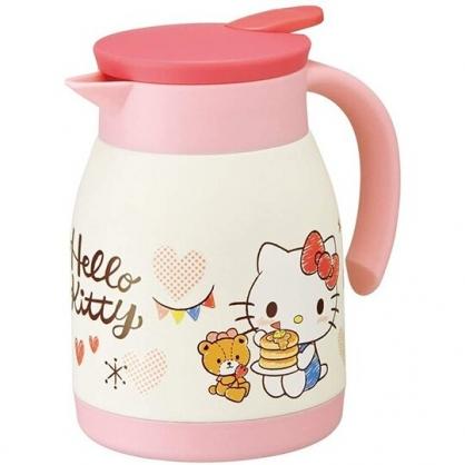 小禮堂 Hello Kitty 單耳不鏽鋼茶壺 熱水壺 咖啡壺 飲料壺 保溫壺 600ml  (粉白 鬆餅)