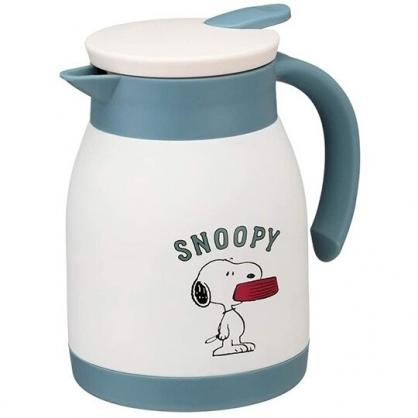 小禮堂 史努比 單耳不鏽鋼茶壺 熱水壺 咖啡壺 飲料壺 保溫壺 600ml  (白綠 咬碗)