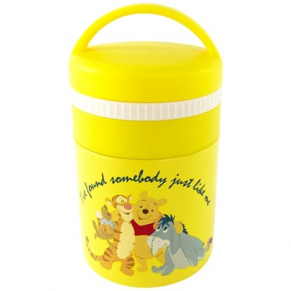 小禮堂 迪士尼 小熊維尼 圓形不鏽鋼保鮮罐 不鏽鋼便當盒 熱湯罐 超輕量不鏽鋼 180ml (黃 朋友)