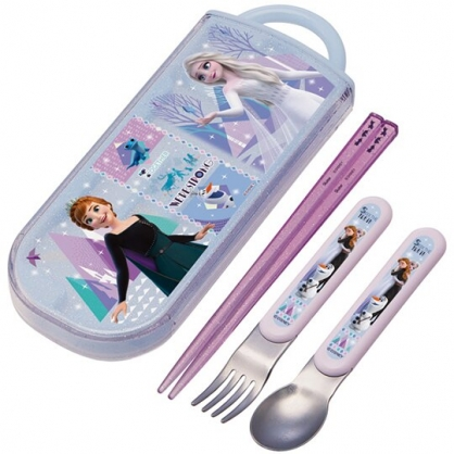 小禮堂 迪士尼 冰雪奇緣 日製 滑蓋三件式餐具組 叉匙筷 兒童餐具 環保餐具 Ag+ (紫 禮服)
