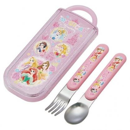 小禮堂 迪士尼 公主 日製 滑蓋兩件式餐具組 叉匙 兒童餐具 環保餐具 (粉 圓框)