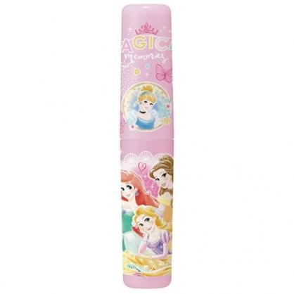 小禮堂 迪士尼 公主 日製 隨身塑膠餐具罐 牙刷罐 筆罐 收納罐 (粉 花朵)