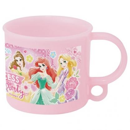 小禮堂 迪士尼 公主 日製 單耳塑膠杯 兒童水杯 漱口杯 小水杯 200ml Ag+ (粉 玫瑰)