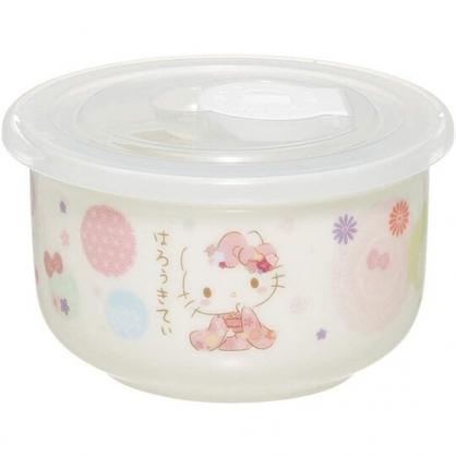 小禮堂 Hello Kitty 陶瓷微波保鮮碗 附蓋 陶瓷保鮮盒 便當盒 沙拉碗 200ml (粉白 和服)
