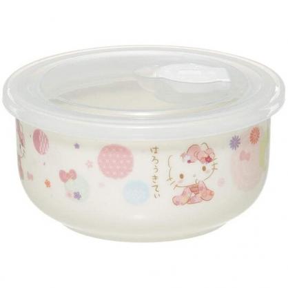 小禮堂 Hello Kitty 陶瓷微波保鮮碗 附蓋 陶瓷保鮮盒 便當盒 沙拉碗 380ml (粉白 和服)